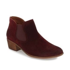 BP. Burgundy Ankle Boots Suede Bootie Tripp